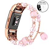 Ezzdo Replacement Band For Fitbit Charge 2 Jewelry Band, for Women, Luxury Handmade Jewelry Faux Pearl Natural Stone Decorated Replacement Strap Bracelet for girl (Large, Pink Rose Gold)