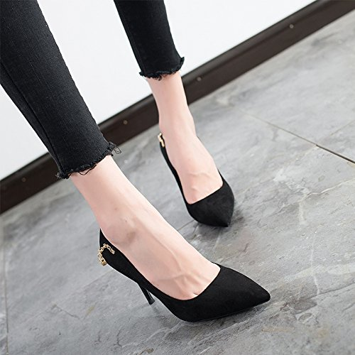 Work Shoes Spring 9Cm Elegant Shoes Occupation Lady Shoes With Sexy Heeled MDRW Pointed Fine Black 38 Match High Leisure All 6Eq4f