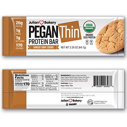 Pegan Protein Bar (Ginger Snap Cookie) 12 Bars (20g Organic Pumpkin Seed Protein) (Vegan/Paleo) (Best Paleo Cinnamon Rolls)