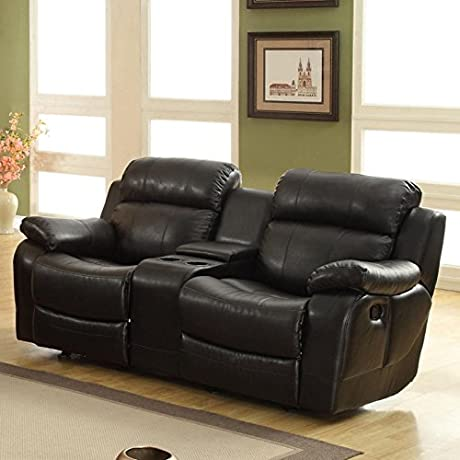Leather Reclining Loveseat With Console Black Made Of Leather Overstuffed Arms And Headrest For Extra Comfort