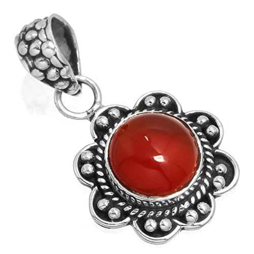 Red Onyx Gem Pendant - Solid 925 Sterling Silver Collectible Jewelry Natural Red Onyx Gemstone Pendant