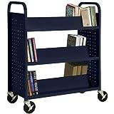 """Sandusky Lee Double Sided Sloped Shelf Welded Book Truck, 19"""" Length, 39"""" Width, 46"""" Height, 6 Shelves"""