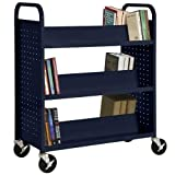 Sandusky Lee SV336-A6 Double Sided Sloped Shelf Welded Book Truck, 19'' Length, 39'' Width, 46'' Height, 6 Shelves, Navy