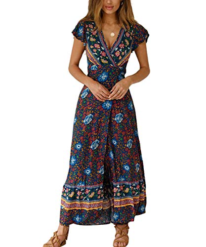 Womens Boho Dresses Retro Floral Print Long Dresses Short Sleeve Swing Maxi Dresses Navy Large