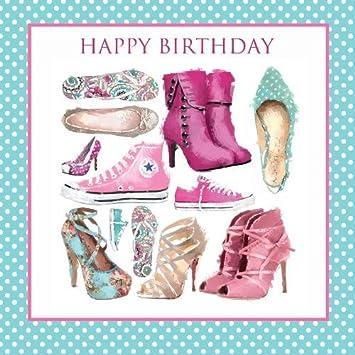 Joyeux Anniversaire Chaussures Bottes Baskets Talons Motif Carte