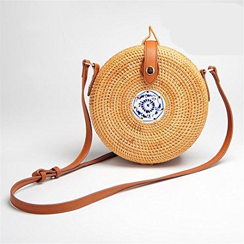 fa16861d6849 BoBoSaLa Travel Summer Bag For Ladies Blue And White Porcelain Decoration  Women Circle Straw Bag Handmade Rattan Bag Knitting Bag 20x10CM