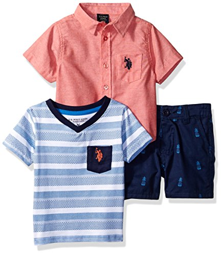 U.S. Polo Assn. Baby Boys Sleeve Shirt, T-Shirt and Short Set, Overall Printed Flight Blue, 24M