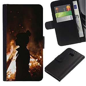 KingStore / Leather Etui en cuir / HTC One M8 / Fuego de la silueta anaranjada de verano Mediados de Eve;