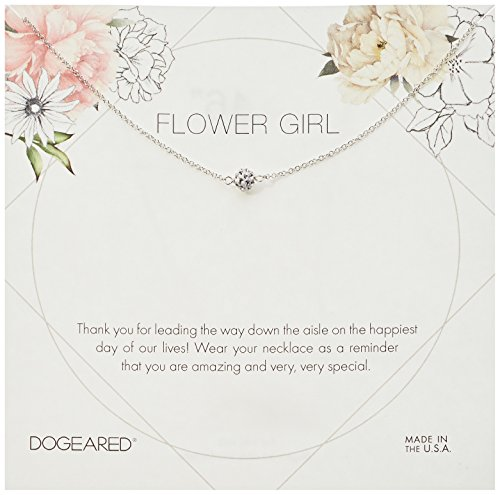 Dogeared Flower Girl Flower Card Pave Sparkle Ball Chain Neckalce, Sterling Silver, 16