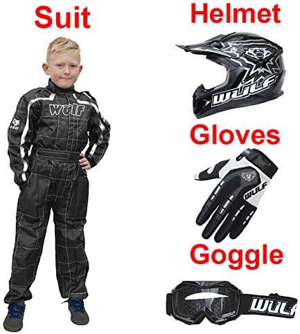 Attack Gloves XS 11-12Yrs Wulf Wulfsport Kids Flite Motocross Helmet Black L 51-52cm + Cub Abstract Goggles Kids Race Suit XL 7cm