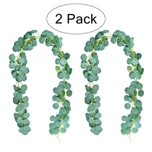 Artificial Eucalyptus Garland | Artificial Green Garland Plants|Ucalyptus Leaves | Wreath Wedding Party | Home Wall Decoration|Winding Flower Vine | Utdoor Background Flower Arrangement | 2 PCS ()