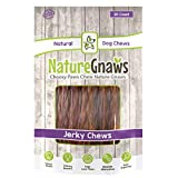 """Nature Gnaws Beef Jerky Chews 9-10"""" (20 Pack) - 100% All-Natural Grass-Fed Free-Range Premium Beef Dog Chews"""
