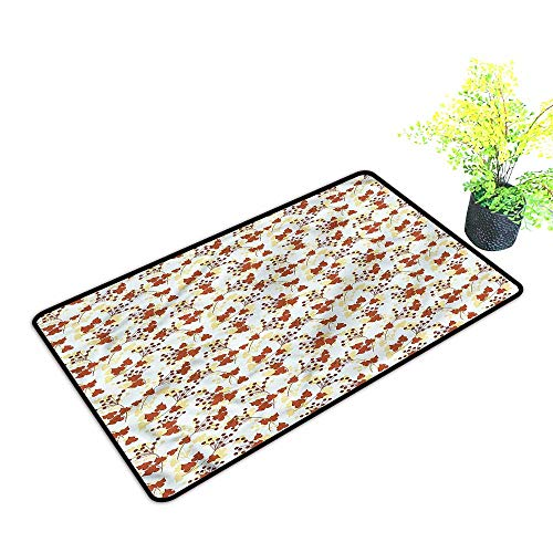 Door mat Washable Autumn Fall,Foliage Berries Leaves Dirt Debris Mud Trapper,H21xW33 inch