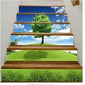 lili-nice Árbol Escaleras Pegatinas Pasillo Escaleras Escalera Decorativa Piso Pegatinas de Pared PVC 3D 18 * 100cm 1set 6pcs: Amazon.es: Hogar