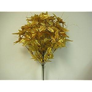 JumpingLight Gold Christmas Poinsettia Bush 24 Artificial Silk Flower 24'' Bouquet 3024GD Artificial Flowers Wedding Party Centerpieces Arrangements Bouquets Supplies 60
