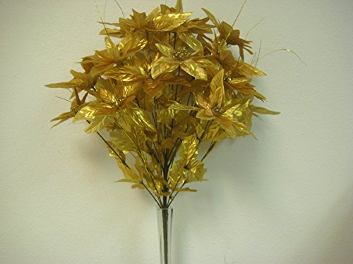 24' Silk Calla Lily - JumpingLight Gold Christmas Poinsettia Bush 24 Artificial Silk Flower 24'' Bouquet 3024GD Artificial Flowers Wedding Party Centerpieces Arrangements Bouquets Supplies