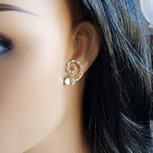 Twisted Swirl Earrings, Handmade 950 Sterling Silver Twisted Swirl Earrings with Oval-shaped Brazilian Prasiolite (Green Amethyst), 8x6mm.