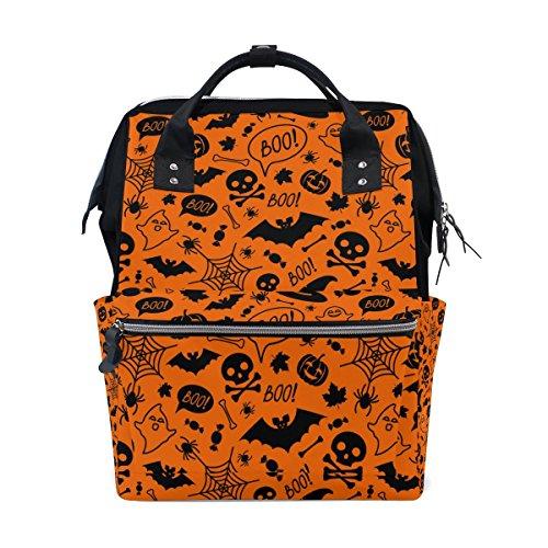 JSTEL Laptop College Bags Student Travel Halloween Orange Festive School Backpack Shoulder Tote Bag
