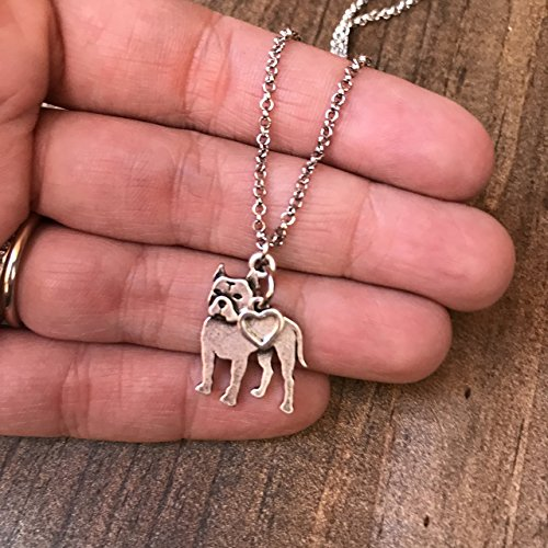 Gray Dog Charm (Pitbull Charm Necklace, Pitty Dog Lover Gift, Stainless Steel Silver with Heart Charm on a Chain, Ladies I Love Pit Bull Short Hair)
