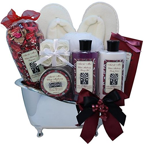 White Mulberry Bathtub Spa Bath and Body Gift Basket ()