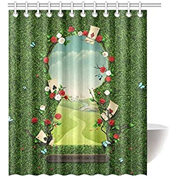 On Sale Curiouser And Alice In Wonderland Bathroom Waterproof Shower Curtain 60X72 Inch