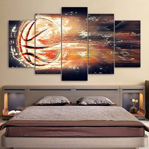Sports Themed Canvas Wall Art Canvas Art Abstract Basketball Basket Goal Painting Wall Pictures For Boys Room Baby Nursery D¨¦cor Kids Room Basketball Boys Gift
