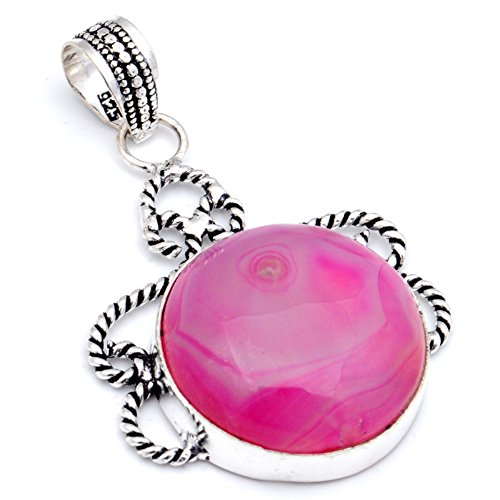 Gift For Teen! Handmade Jewelry! Pink Botswana Agate Sterling Silver Overlay Pendant ()