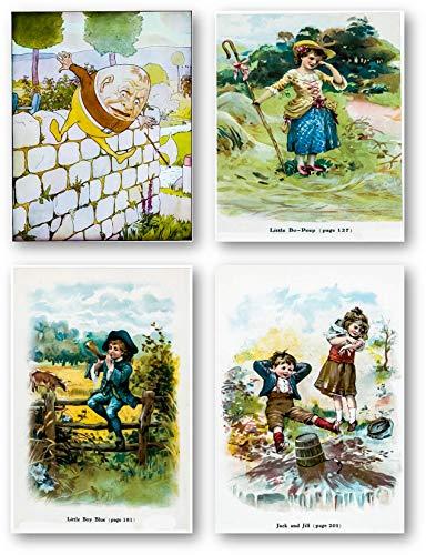 (Babies Room Nursery Wall Art Drawing - Nursery Rhymes Wall Decor Art Prints - Set of 4 8 x 10 Unframed Prints - Great Gift for Baby Showers Humpty Dumpty, Little Jack Horner, Little Bo Beep, Jack and )
