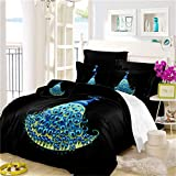 Blue Peacock Big Tail Feather Pattern Series Luxury Print Microfiber Duvet Cover 3pcs,Super Comfortable and Smooth,Hypoallergenic,Moisture and Dust Mites Resistant