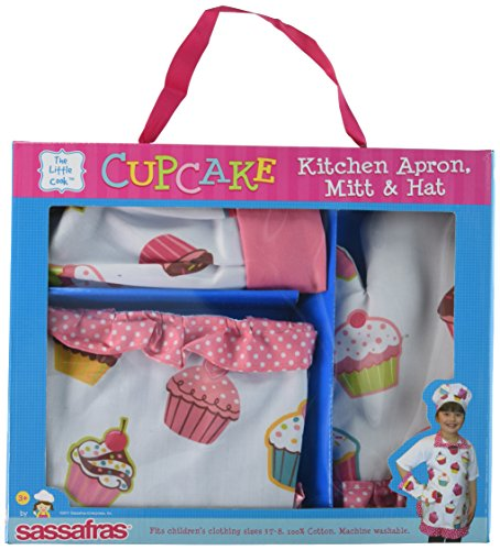 Sassafras The Little Cook Ruffled Cupcake Apron Set includes Apron, Kitchen Mitt and Hat by Sassafras