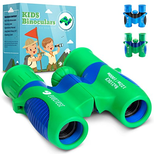 EvoCrest Binoculars for Kids w/ Shock Proof Rubber Body – 8x21 High Resolution Lenses w/ Clear Focus Perfect for Bird Watching, Outdoor Play, Educational Learning – Toys for Boys and Girls (Body Viewing)