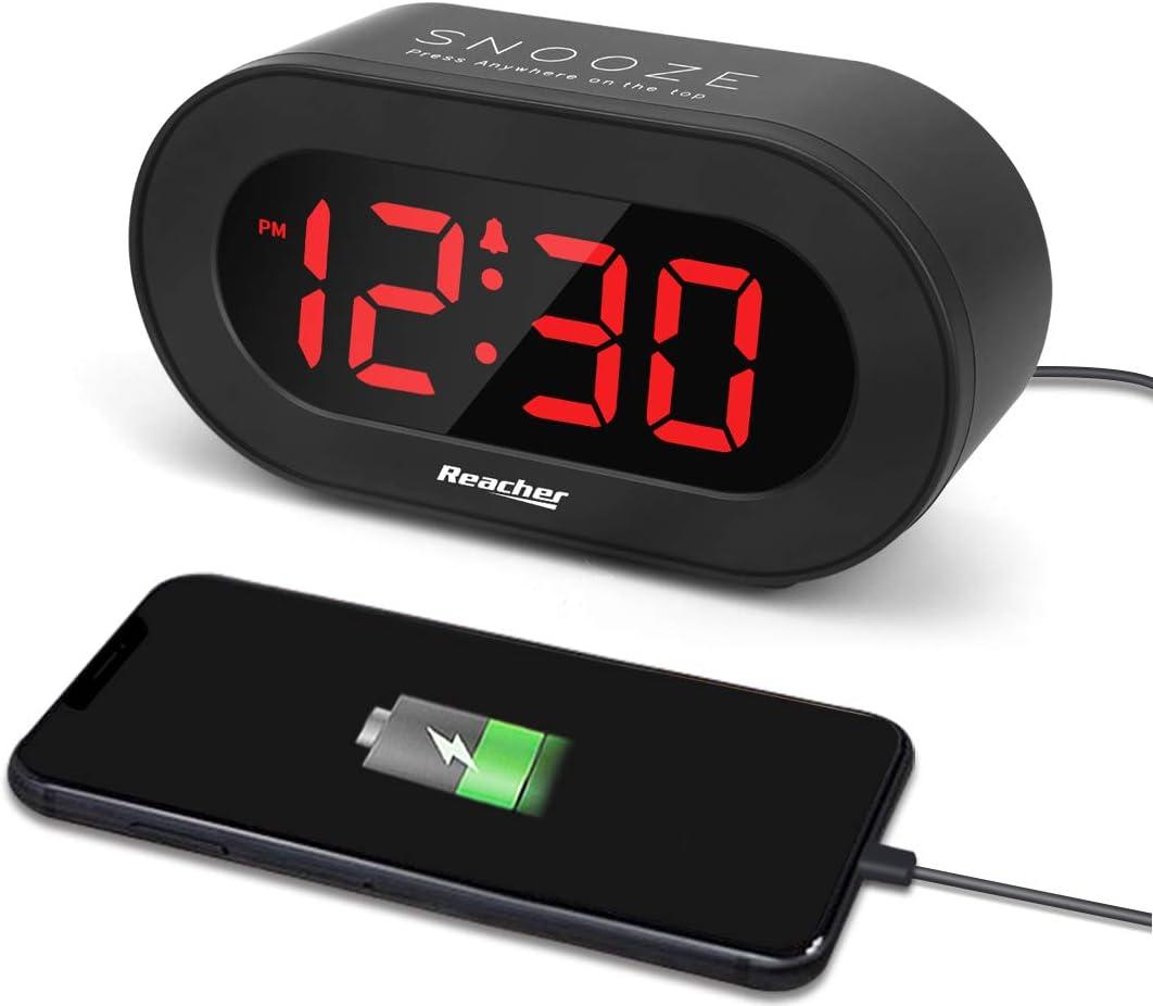 REACHER Small LED Digital Alarm Clock with Simple Operation, Full Range Brightness Dimmer, USB Phone Charger Port, Easy Snooze, Adjustable Alarm Volume, Outlet Powered for Bedrooms Bedside(Black)