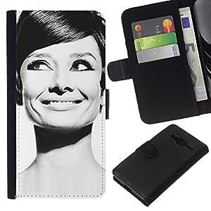 All Phone Most Case / Oferta Especial Cáscara Funda de cuero Monedero Cubierta de proteccion Caso / Wallet Case for Samsung Galaxy Core Prime // Audrey Actress Black White Classic Portrait