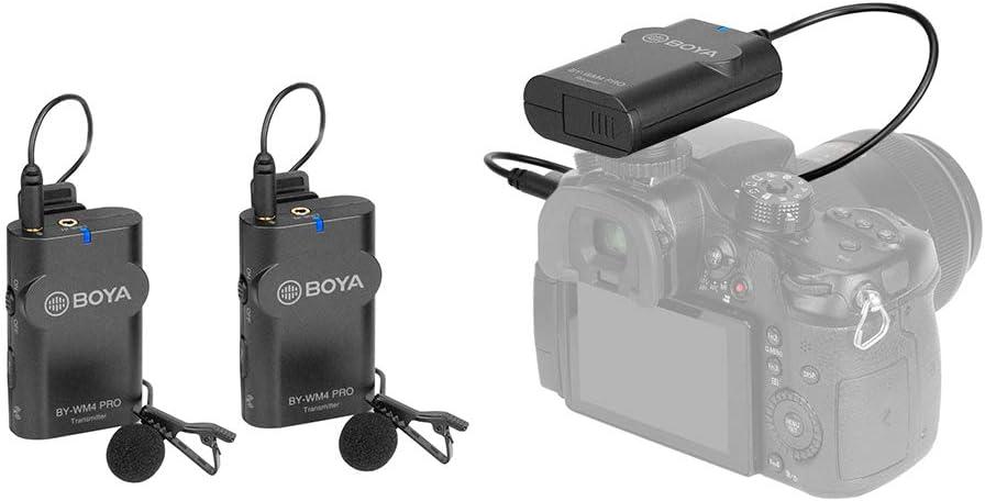 Smartphone Interview PC Camcorder mit Hartschalentasche f/ür DSLR-Kamera Audioaufnahme Dual Transmitter + 1 Empf/änger Tablet TOPTOO BOYA by-WM4 Pro K2 Tragbares 2,4 G kabelloses Mikrofonsystem