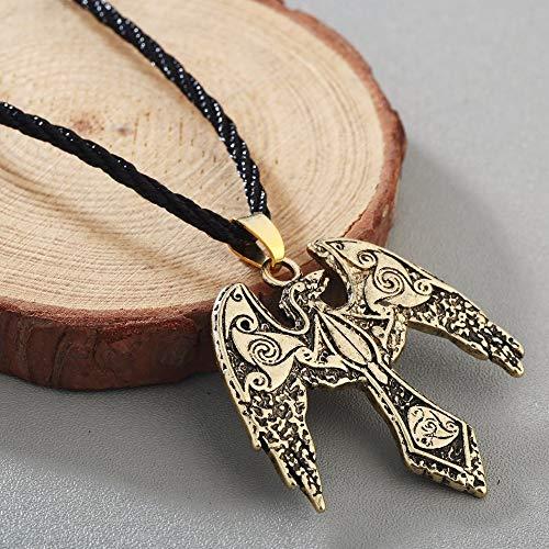 Necklace for Men Dragon Necklaces & Pendant Triskelion Symbol Norse Vikings Odin's Raven Jewelry Unisex Bird Phoenix Colier