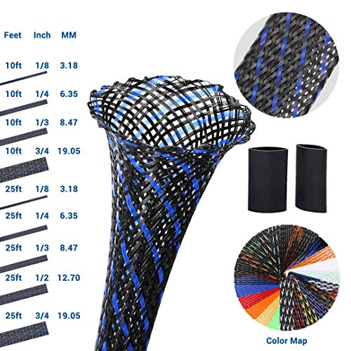 PET Expandable Braided Sleeving 0.125 Inch Wire Loom Wire Sleeving to Protect Your Cables 25Ft Braided Wire Sleeve BlackBlue