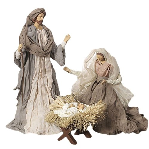 Large Holy Family Christmas Nativity Set, 3 Pieces, 17.5 Inch Tall, Fabric & Resin by Raz