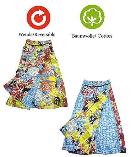 3fbd3b7c7516 ... Sunsa Damen Rock Maxirock Sommerrock Wickelrock Wenderock aus Baumwolle  Zwei Optisch Verschiedene Röcke mit Einem Abnehmbaren