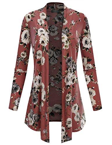 (BIADANI Women's Open Front Lightweight Cardigan Floral Print 12205 Mauve Small)
