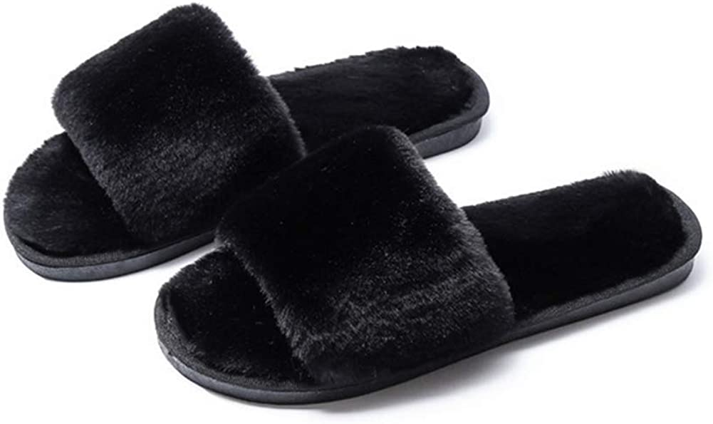 HCBLWY Womens Faux Fur Thong Spa Flip Flops Slippers Fluffy Open Toe Indoor House Shoes