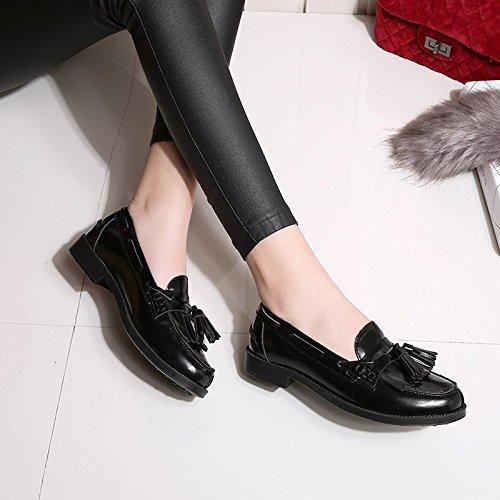 Pp Fashion Mujeres Slip On Cuero Borlas Planos Mocasines Negro