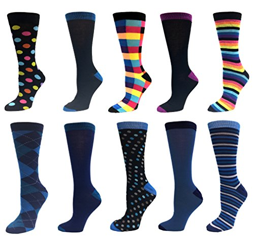 Block Stripe Socks - 10 Pairs Men's Dress Casual Socks Cororful, Argyle Blocks Stripes Polka Dots Solid Colors, Black Teal