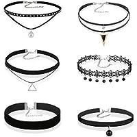 Hunputa 6 Pcs a Set Choker Necklaces for Women Girls Black Velvet Tattoo Choker Collar Lace Vintage Adjustable