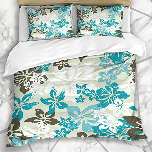 Ahawoso Duvet Cover Sets Queen/Full 90x90 Maui Teal Pattern Hibiscus Tiki Nature Back Hawaii Island Camo Floral Tropical Design Microfiber Bedding with 2 Pillow Shams