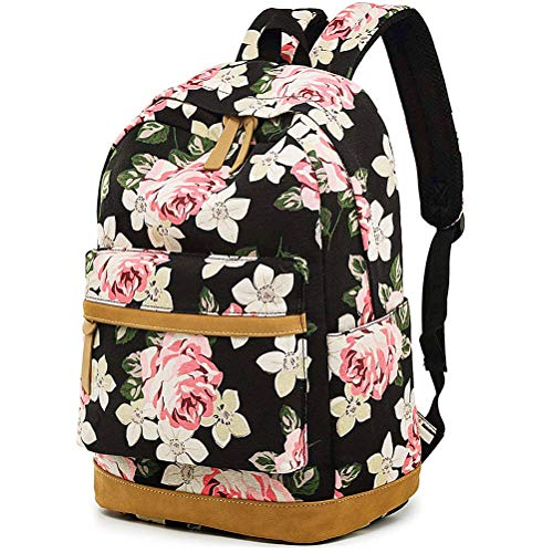 MCWTH Casual Laptop Backpack Canvas Travel Daypack School Bag Bookbags for Teen Girls and Women (Big-Flower) (Flower Laptop Bag)
