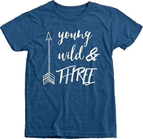 Trunk Candy Young, Wild & Three Boys Premium Tri-blend Crew Neck T-Shirt (Vintage Royal, XS(4/5)) (Tee Trunk Shirts)