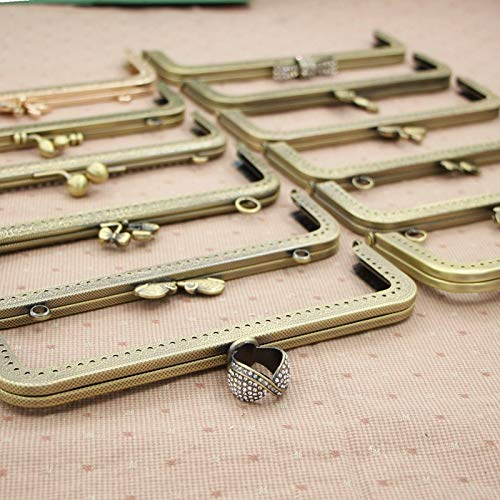 DalaB Bronze 5Pcs/lot 20cm Square Animal Knurling Metal Opening Bags DIY Women Handbag Accessories Purse Frame Mouth Gold Kiss Clasp - (Color: Flower Bud)