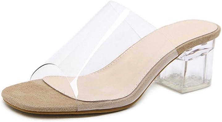 GIY Womens Low Block Heel Slide Sandals