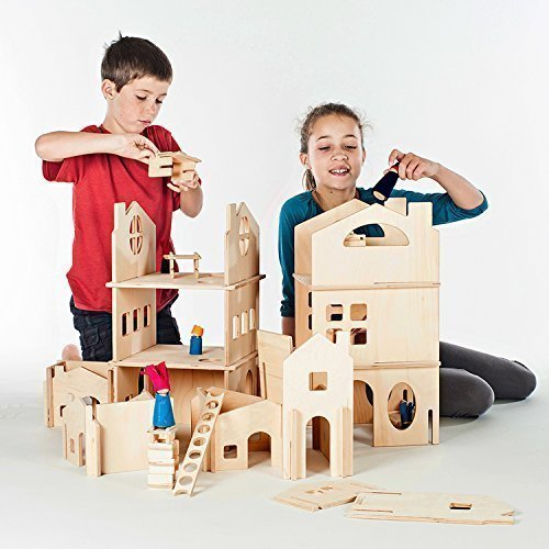 Modular Dollhouse Tower and House Building Walls (Combo Set) by Manzanita Kids