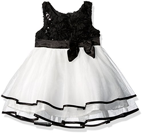 Lilt Little Girls' Toddler Soutache Sequin Mesh Dress with Bow, Black/Ivory, 4T
